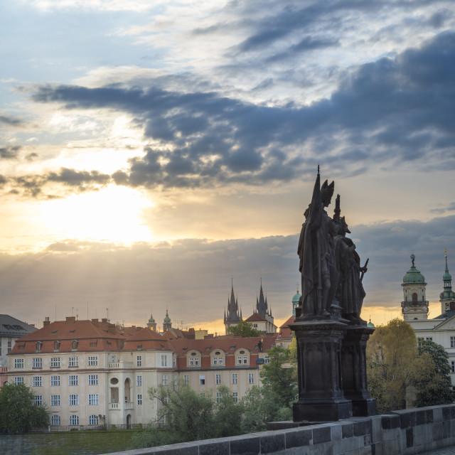 """Sunrise over Prague and Charles Bridge"" stock image"
