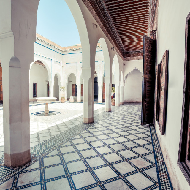 """The old sultan palace of Marrakech, now an important tourist attraction in..."" stock image"