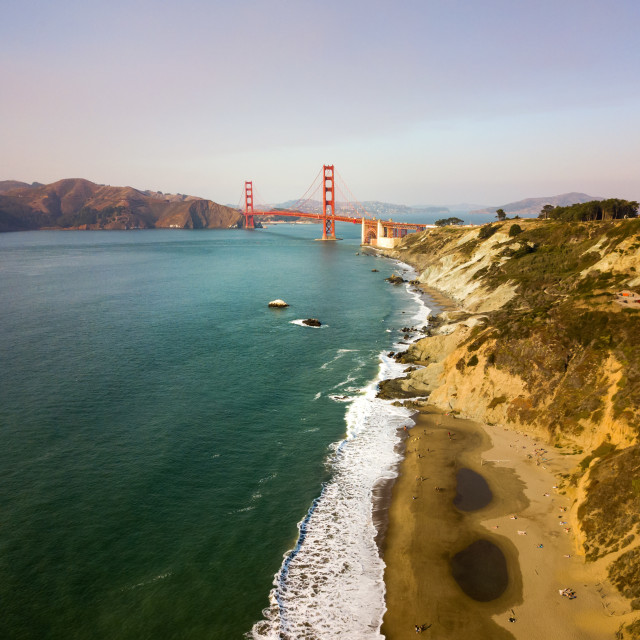"""Aerial view of Golden Gate bridge"" stock image"