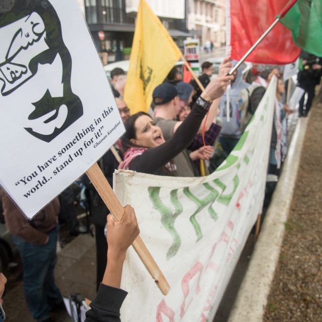 """""""London: Protest and march Nakba70 – Expose BBC Lies on the #GreatReturnMarch"""" stock image"""