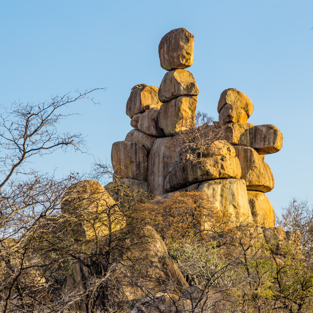 """Balancing rocks in Matobo National Park, Zimbabwe."" stock image"