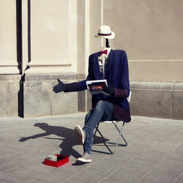 """MUNICH, funny street art performer"" stock image"
