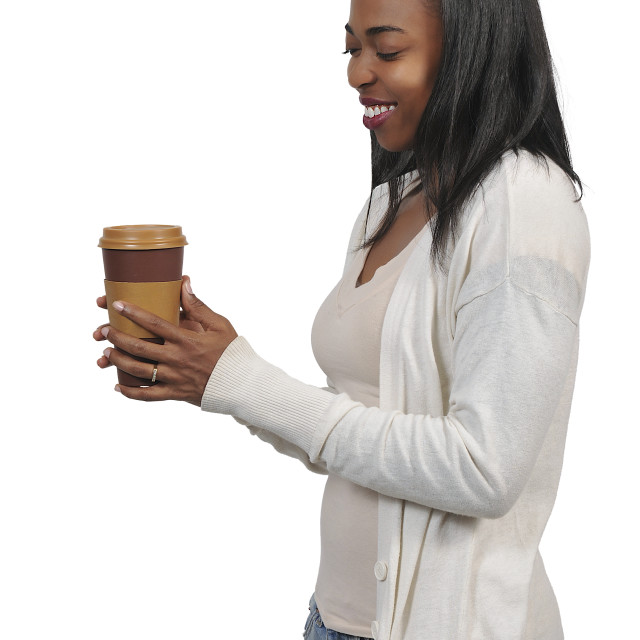 """Woman Drinking Coffee"" stock image"