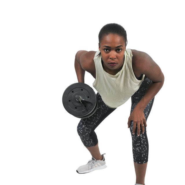"""Woman Working with Weights"" stock image"