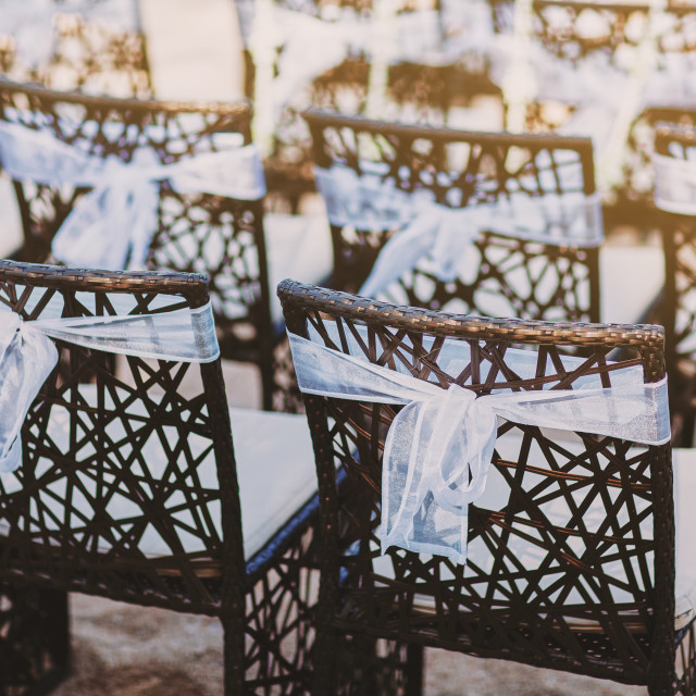 """The back side of black wooden chairs with white organza sash decoration for beach wedding venue"" stock image"