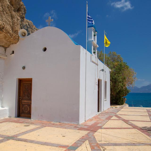 """Church at Hersonissos City - Heraklion Crete"" stock image"