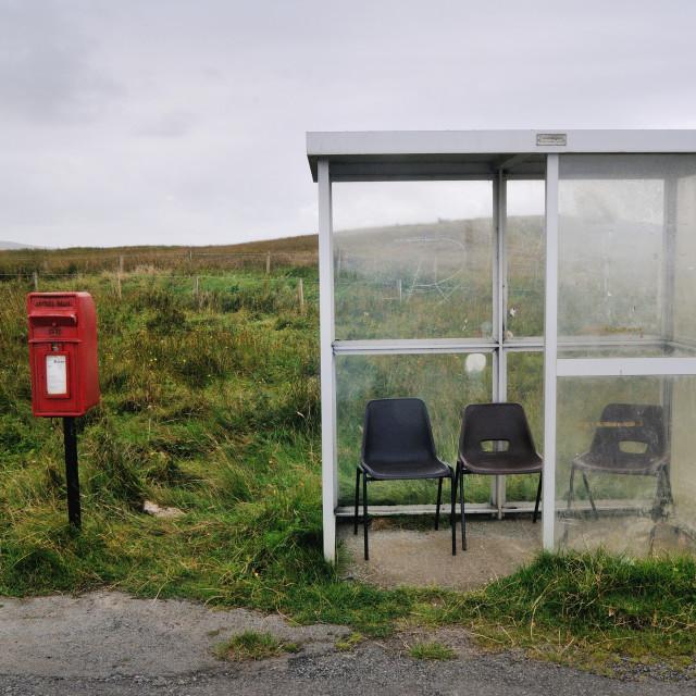 """Postbox and bus stop near Kilmuir, Isle of Skye"" stock image"