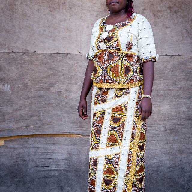 """""""African woman with white dress"""" stock image"""