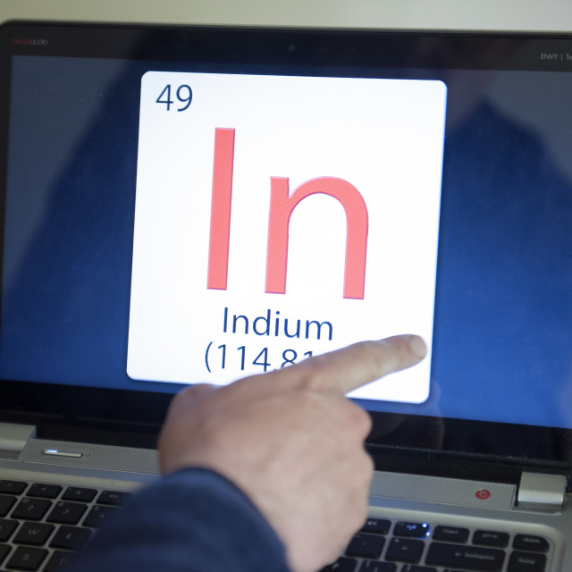 """""""Digital composite Chemical formula tile In. Indium. On a touch screen. Indium..."""" stock image"""