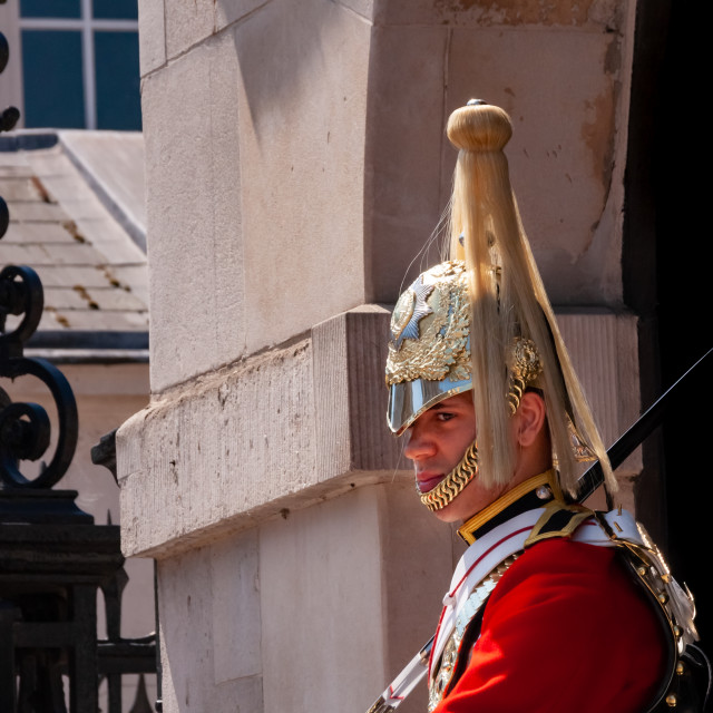 """""""Horse Guard at Whitehall in London on a hot sunny day"""" stock image"""