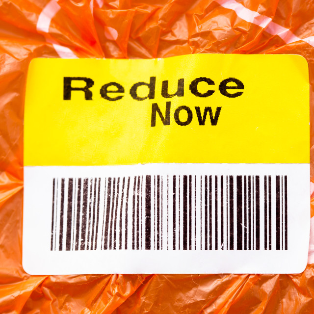 """End Plastic Pollution. Reduce now plastic use lavel on plastic b"" stock image"