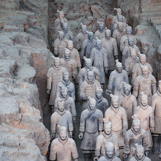 """Xian, China - August 6, 2012: Detail of a rank of Terracotta Warriors near the city of Xian in China"" stock image"