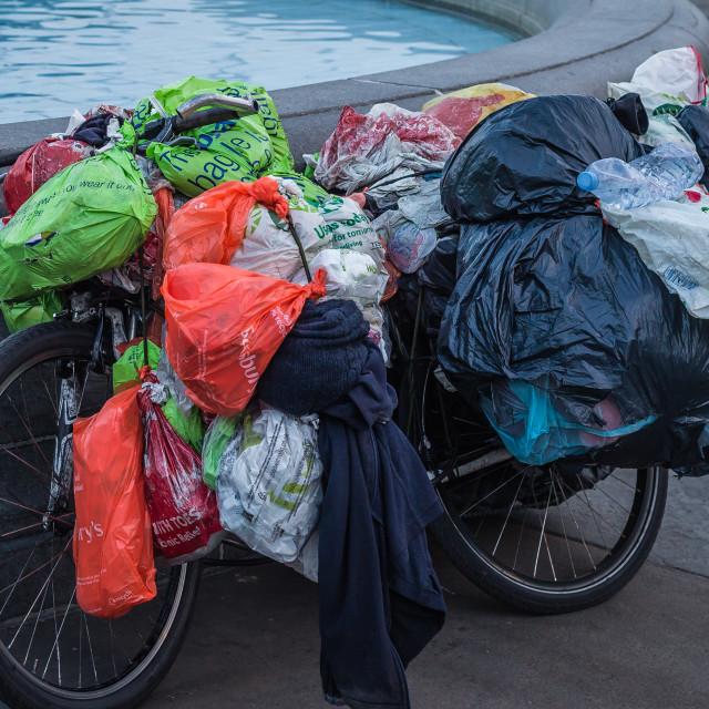 """Plastic Bag Bike"" stock image"