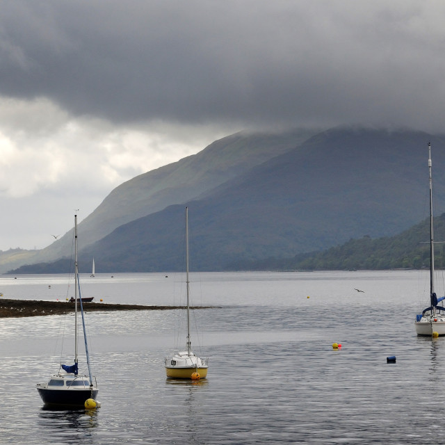 """""""Boats moored in the harbour at Fort William, Scotland"""" stock image"""