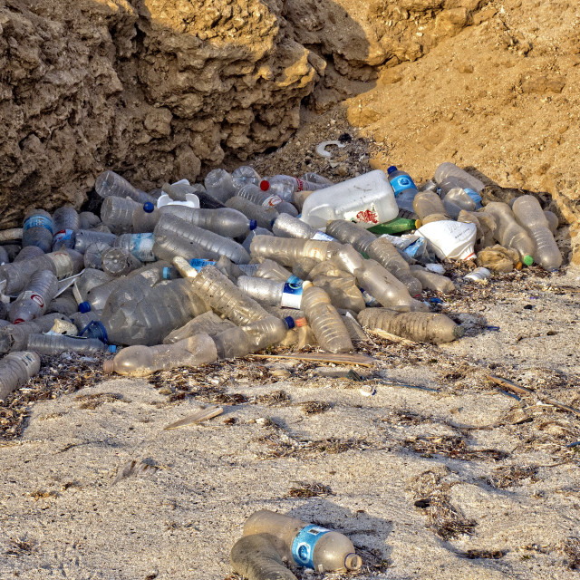 """Plastic bottles on the beach"" stock image"