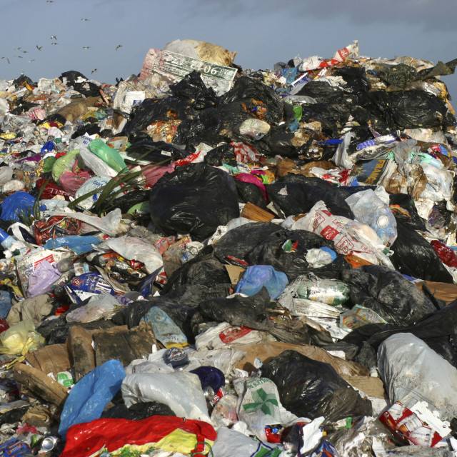 """Large Pile of Plastic Waste at Belfast Landfill Site"" stock image"