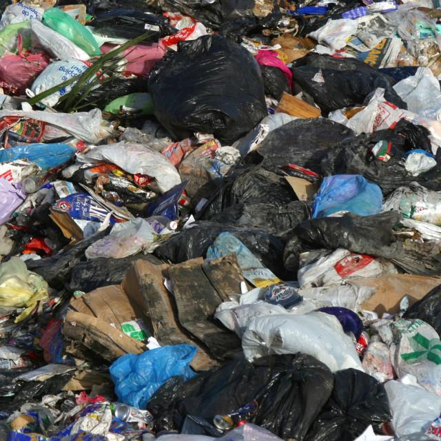 """Bundles of Plastic Waste in Belfast Landfill"" stock image"