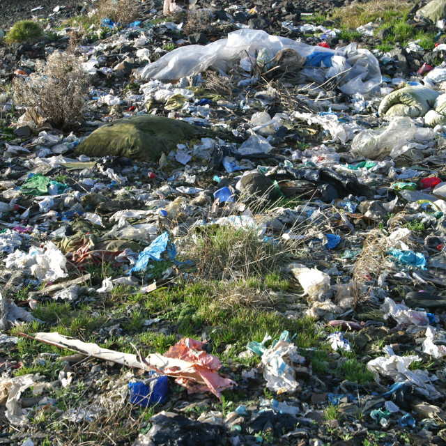 """""""Scattered Plastic Waste at Belfast Landfill Site"""" stock image"""