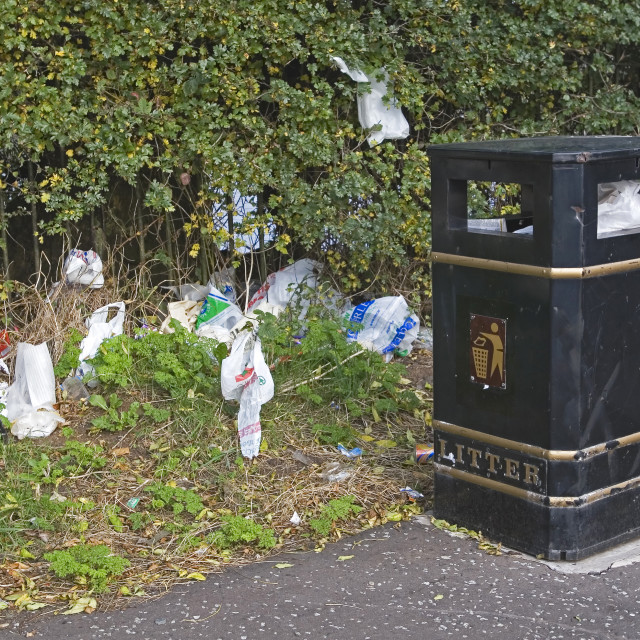 """Litter Bin and Litter in Residential Area of Belfast"" stock image"