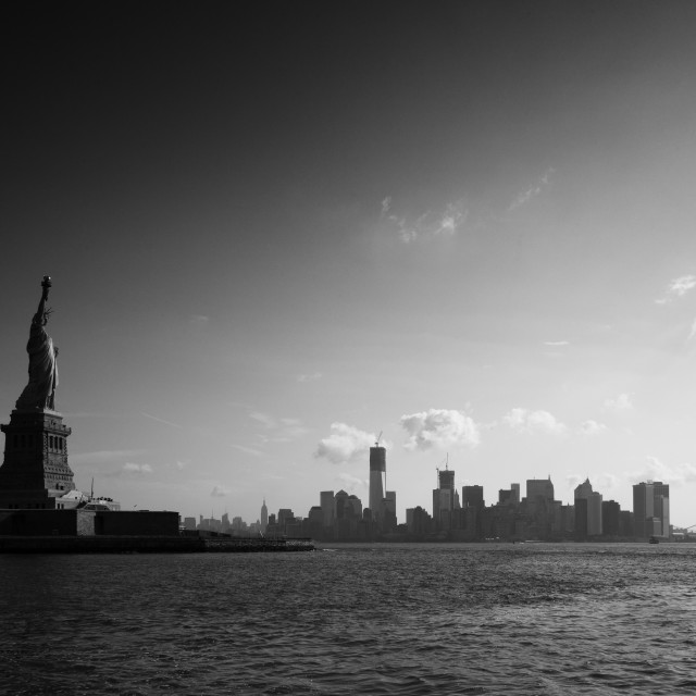 """Statue of Liberty and Manhattan"" stock image"