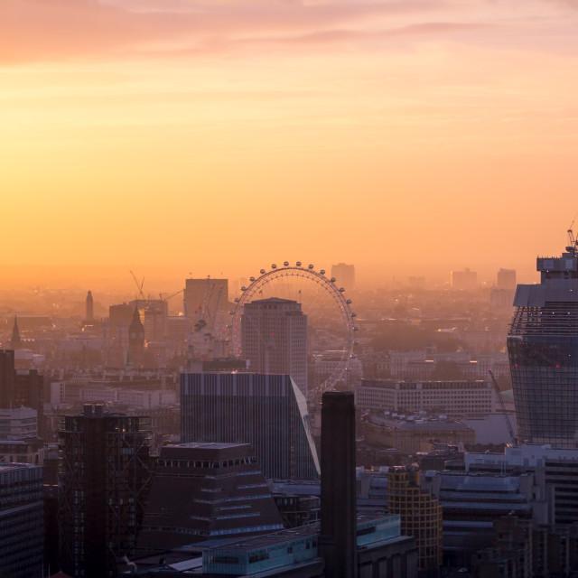 """London cityscape at sunset"" stock image"