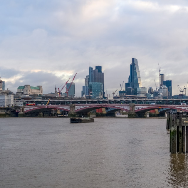 """""""London City View from Queen's Walk"""" stock image"""