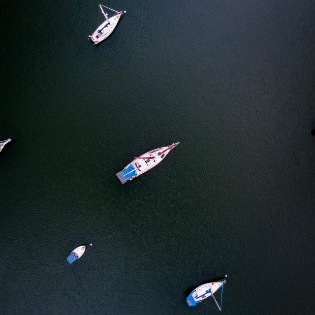 """Aerial Shot - Yachts. Top down view"" stock image"