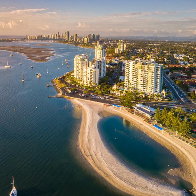 """Aerial Shot - Sunrise at Gold Coast, Australia"" stock image"