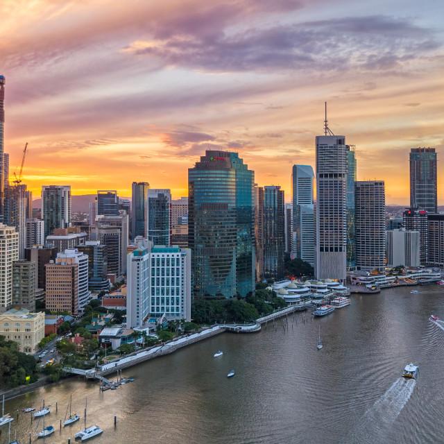 """Aerial Shot - Sunset at Brisbane, Australia"" stock image"