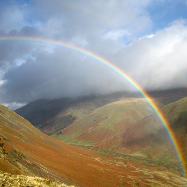"""Rainbow and Helvellyn"" stock image"