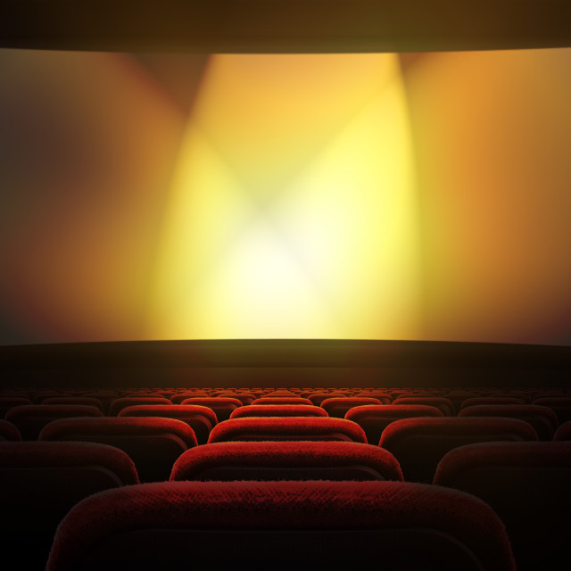 """Movie theater with projection screen"" stock image"