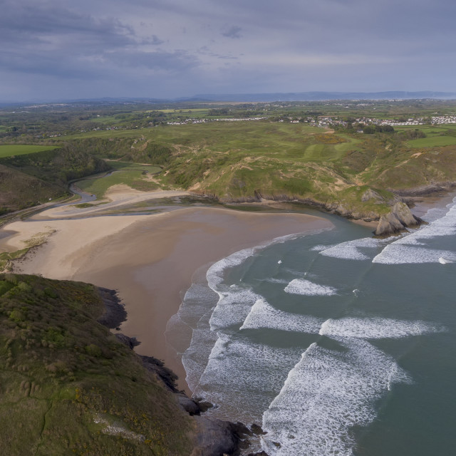 """Three Cliffs Bay South Wales"" stock image"