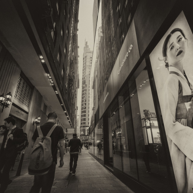 """Life Moves On: Passing Alley - Central, Hong Kong"" stock image"