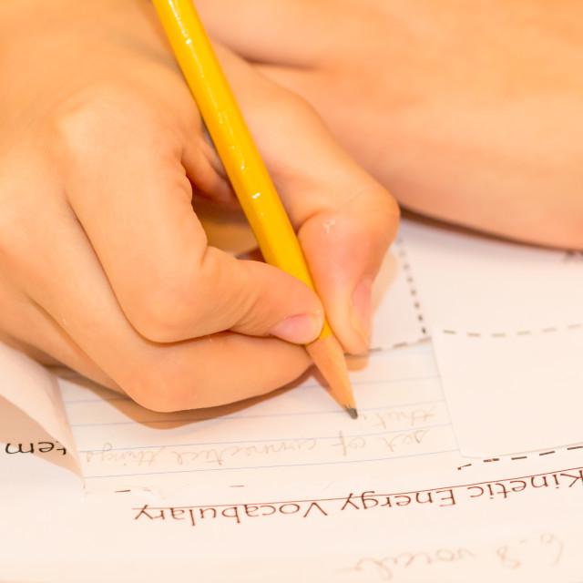 """Boy Writing"" stock image"