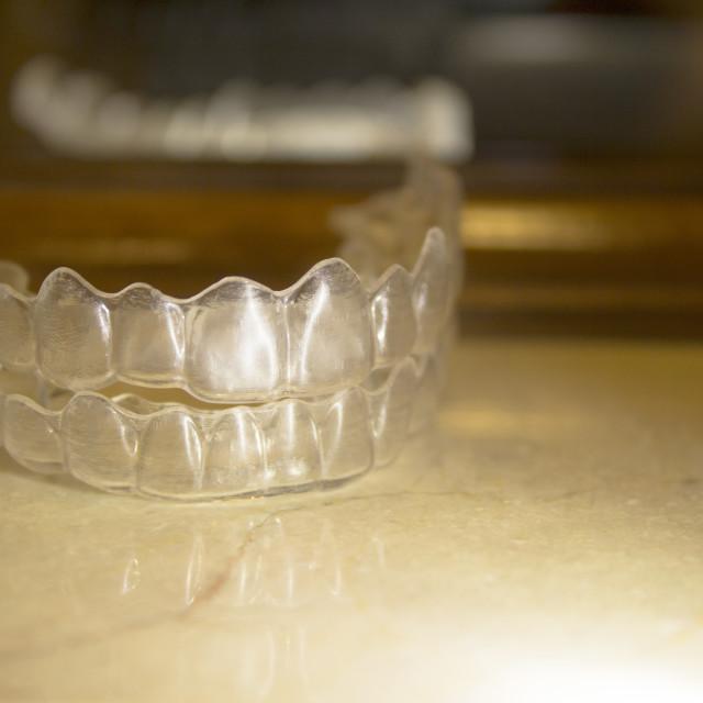 """Transparent dental correction orthodontics"" stock image"