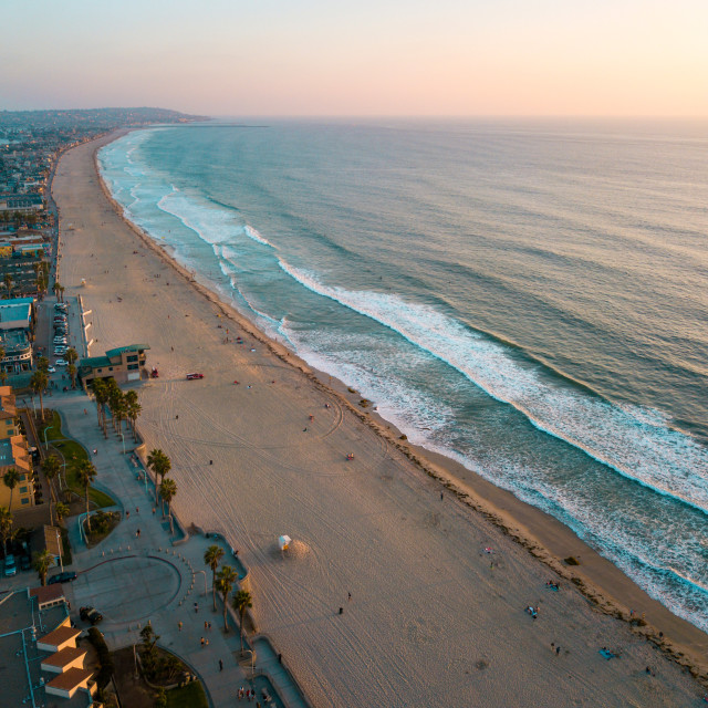 """""""Pacific beach and the surrounding Mission bay in San Diego California"""" stock image"""