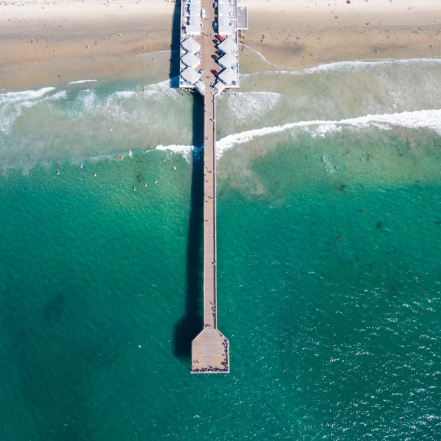 """""""Long pier with houses and cars in San Diego California aerial"""" stock image"""