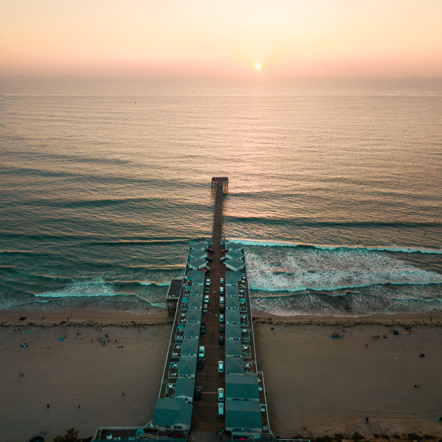 """""""Aerial photo of a pier with houses"""" stock image"""