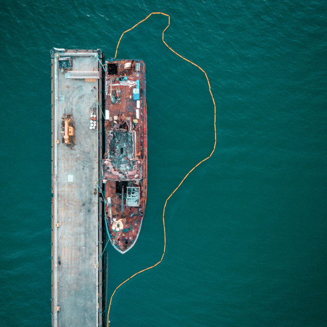 """Aerial of an old docked boat"" stock image"
