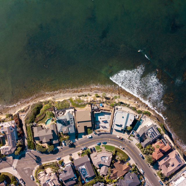 """""""Aerial view of the ocean and houses"""" stock image"""