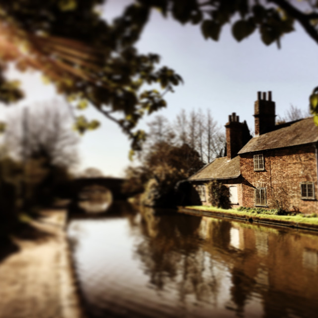 """""""Farm house on the Grand Union Canal."""" stock image"""