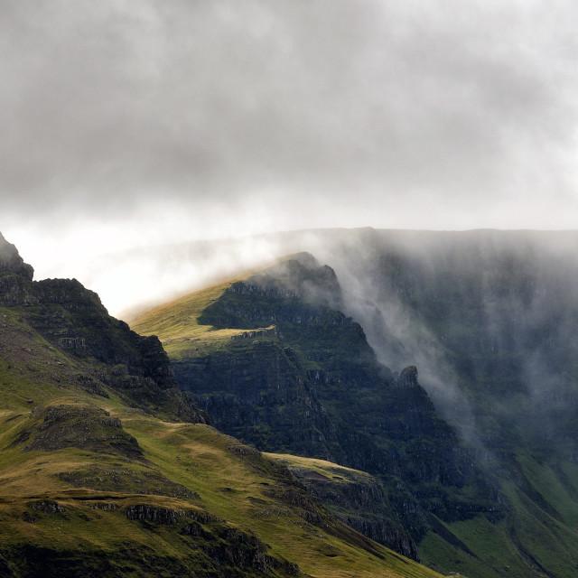 """Cloudfall - clouds over the Trotternish ridge, Skye"" stock image"