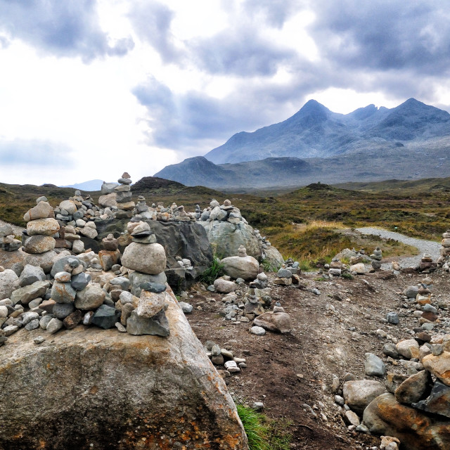"""""""A collection of Cairns at Sligachan, Isle of Skye"""" stock image"""