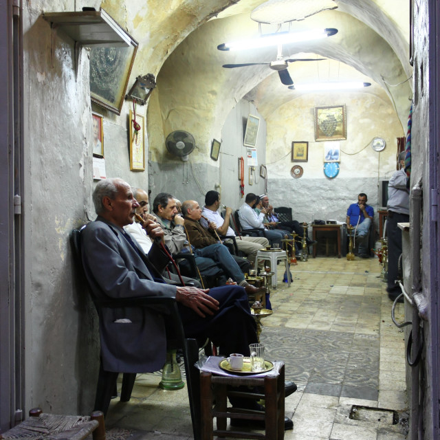 """Men Smoking In The Old City Market in Jerusalem, Israel"" stock image"