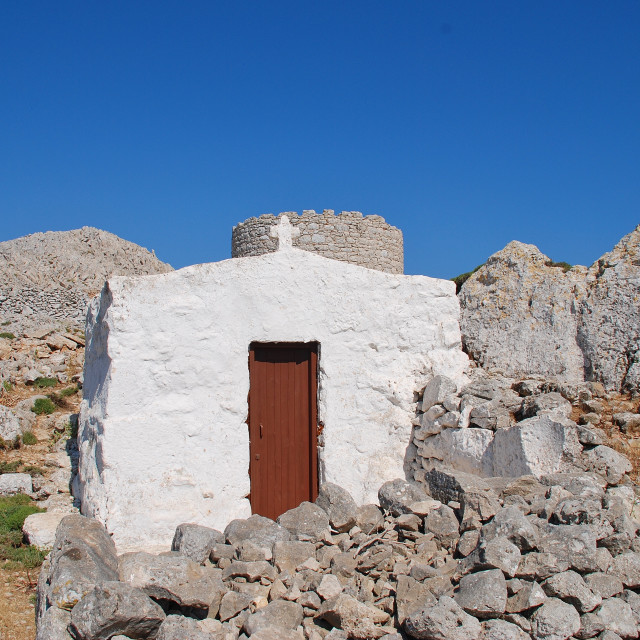 """Chapel in the Halki hills"" stock image"