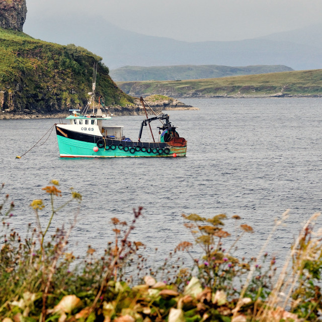 """Moored boat at Portnalong, Isle of Skye"" stock image"