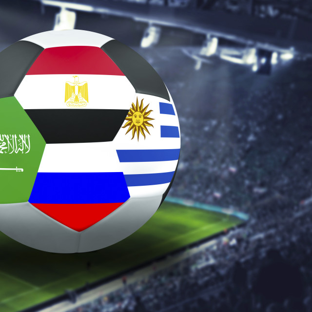 """Football Cup group a in Russia: Russia, Saudi Arabia, Uruguay, Egypt"" stock image"