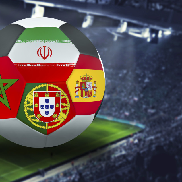 """Football Cup group B in Russia: Portugal, Morocco, Spain, Iran"" stock image"