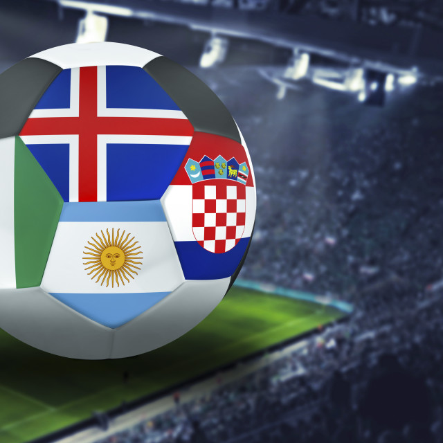 """Football Cup group D in Russia: Croatia, Argentina. Nigeria, Iceland"" stock image"