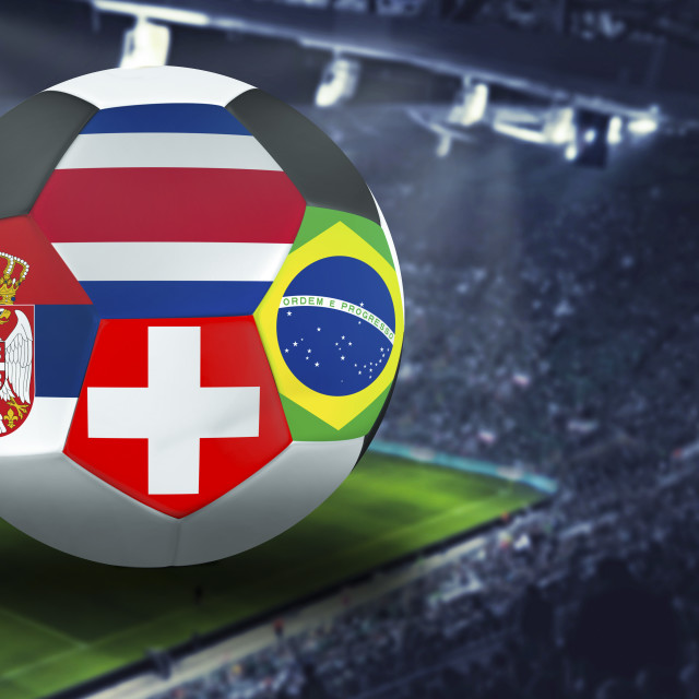 """Football Cup group E in Russia: Brazil, Costa Rica, Switzerland, Serbia"" stock image"
